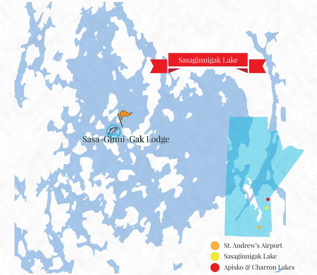 Sasaginnigak Lake and Lodge Map